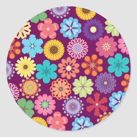 Girly Flower Power Colourful Floral Purple Pattern Classic