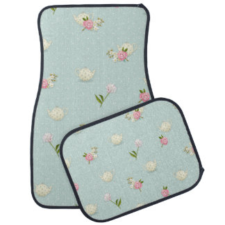 Girly Flowers, Teapots and Polka Dots Floor Mat