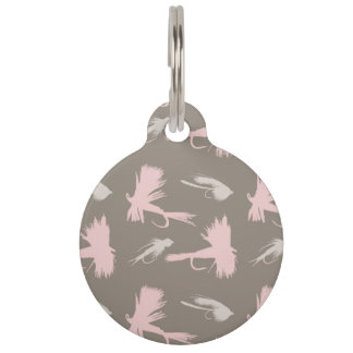 Girly Fly Fishing Lures Pattern Pet Name Tag