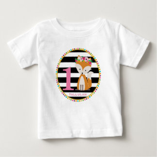 Girly Fox Stripes Birthday Shirt