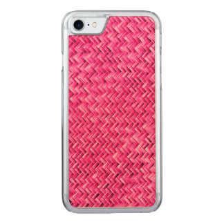 Girly Fuchsia Basket Weave Geometric Pattern Carved iPhone 7 Case