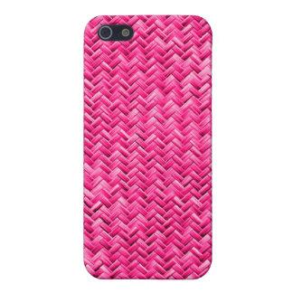 Girly Fuchsia Basket Weave Geometric Pattern iPhone 5/5S Case