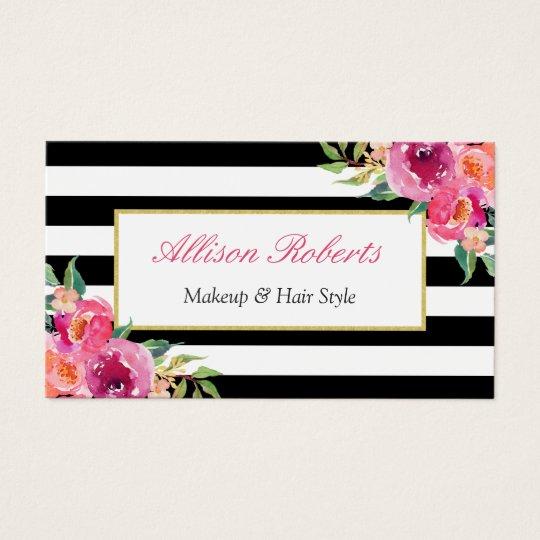 Girly Fuchsia Floral Makeup Artist Beauty Salon Business