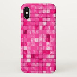 Girly Fuchsia Geometric Decorative Tile Pattern iPhone X Case