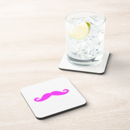 Girly Fuchsia Pink Mustache Beverage Coaster