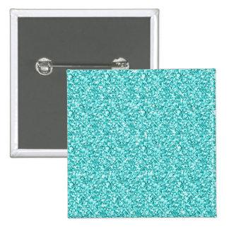 Girly, Fun Aqua Blue Glitter Printed 15 Cm Square Badge