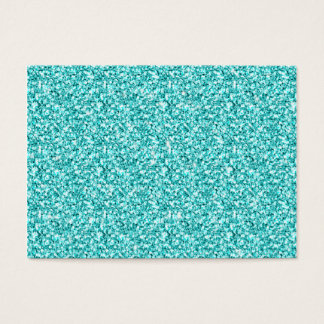 Girly, Fun Aqua Blue Glitter Printed Business Card