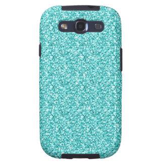 Girly, Fun Aqua Blue Glitter Printed Galaxy SIII Case