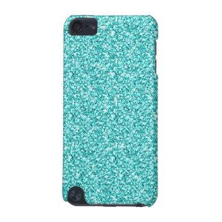 Girly, Fun Aqua Blue Glitter Printed iPod Touch 5G Cover