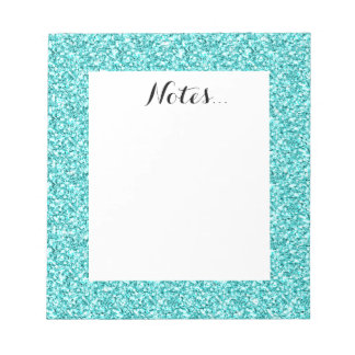 Girly, Fun Aqua Blue Glitter Printed Notepad