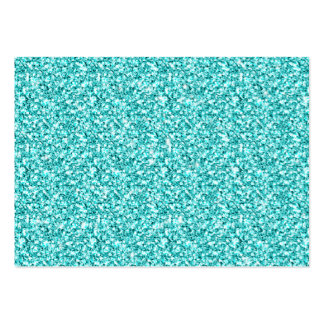 Girly, Fun Aqua Blue Glitter Printed Pack Of Chubby Business Cards