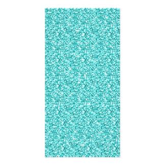 Girly, Fun Aqua Blue Glitter Printed Photo Cards