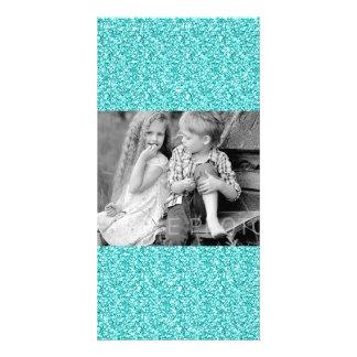 Girly, Fun Aqua Blue Glitter Printed Custom Photo Card
