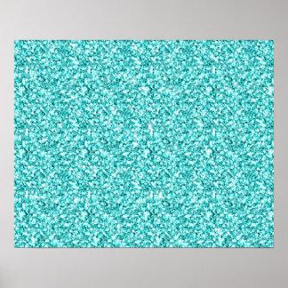 Girly, Fun Aqua Blue Glitter Printed Posters