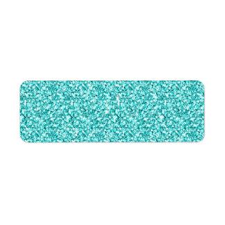 Girly, Fun Aqua Blue Glitter Printed Return Address Label