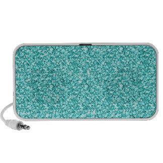 Girly, Fun Aqua Blue Glitter Printed Travelling Speaker