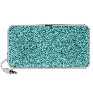Girly, Fun Aqua Blue Glitter Printed Mini Speaker