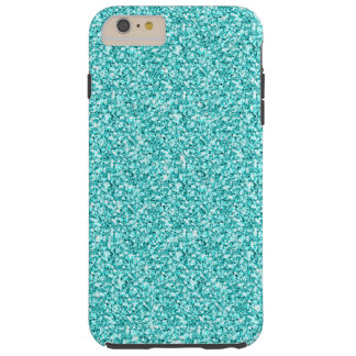 Girly, Fun Aqua Blue Glitter Printed Tough iPhone 6 Plus Case