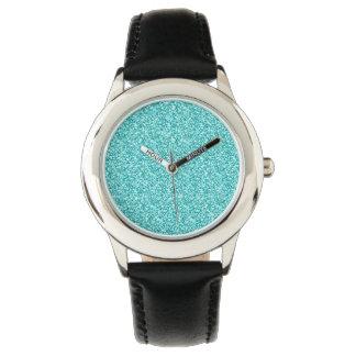 Girly, Fun Aqua Blue Glitter Printed Watch