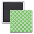 Girly Fun Cute Green Polka Dots Pattern on Green Magnet
