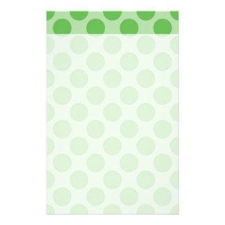 Girly Fun Cute Green Polka Dots Pattern on Green Stationery