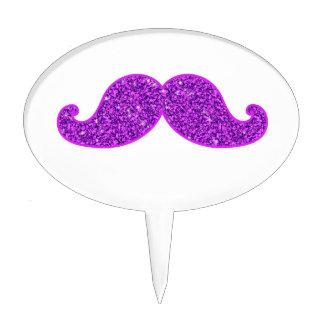 Girly fun retro mustache purple glitter cake topper
