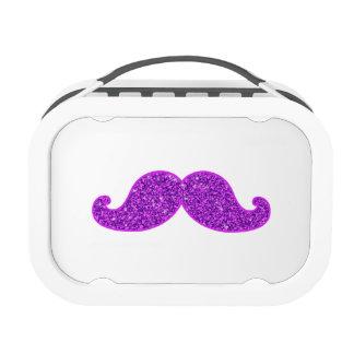 Girly fun retro mustache purple glitter lunch boxes