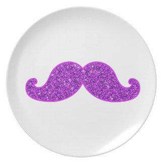 Girly fun retro mustache purple glitter dinner plates