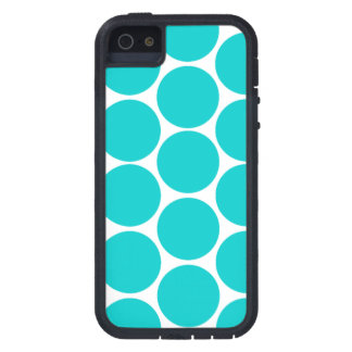 GIRLY FUN TEAL POLKA DOTS LARGE iPhone 5 CASE