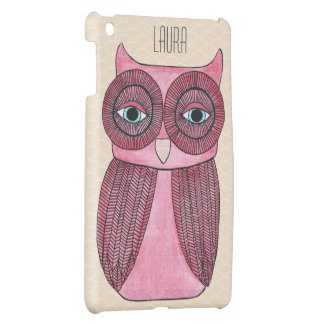 Girly Funky Modern Owl Personalized IPAD Mini Case
