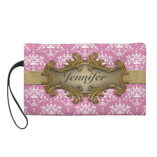 Girly Gawdy Pink and White Damask With Gold Wristlet