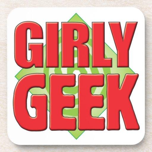 Girly Geek v2 Beverage Coasters