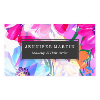Girly Geometric Triangle Flowers Pattern Pack Of Standard Business Cards