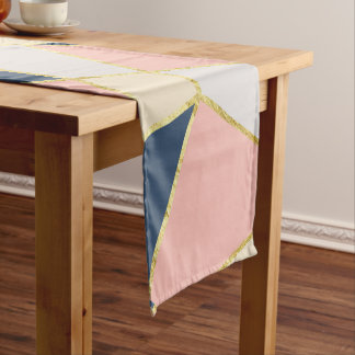 Girly Geometric Triangles with Faux Gold Short Table Runner