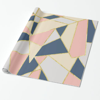 Girly Geometric Triangles with Faux Gold Wrapping Paper