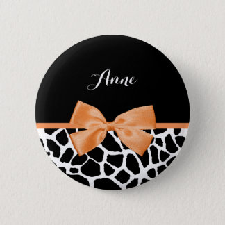 Girly Giraffe Print Orange Ribbon Bow With Name 6 Cm Round Badge