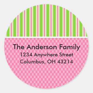 Girly Girl Checks Stripes Return Address Labels Round Stickers