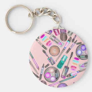 Girly Girl Hand Painted Watercolor Makeup on Pink Key Ring