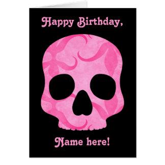 Girly girl pink elegant swirly skull card