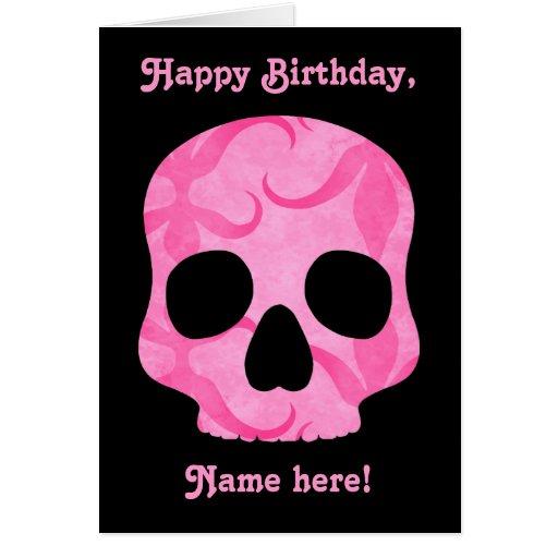 Girly girl pink elegant swirly skull greeting cards