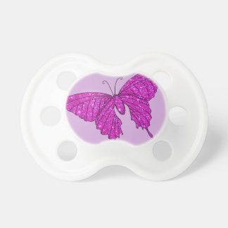 Girly Girl Pink Sparkle Glitter Butterfly Lilac Pacifier