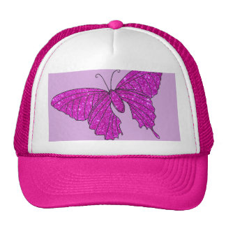 Girly Girl Pink Sparkle Glitter Butterfly Lilac Mesh Hats