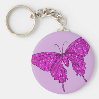 Girly Girl Pink Sparkle Glitter Butterfly Lilac Key Ring