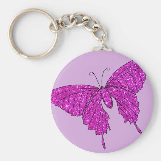 Girly Girl Pink Sparkle Glitter Butterfly Lilac Key