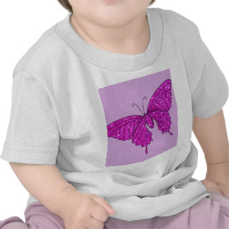 Girly Girl Pink Sparkle Glitter Butterfly Lilac T Shirt