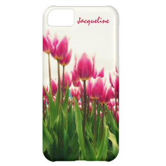 Girly Girl - Pretty Pink Tulips - Personalized! iPhone 5C Case