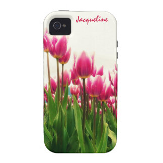 Girly Girl - Pretty Pink Tulips - Personalized! iPhone 4 Cover