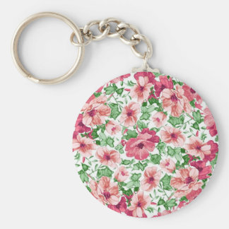 Girly girl sketchy floral pattern. basic round button key ring