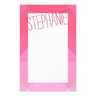 Girly Girly Pink Geometric Pattern Monogram Stationery