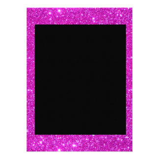Girly Glam Black with Sparkly Pink Glitter Frame Custom Invitations